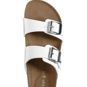 Madden girl blando faux leather white sandals 9.5